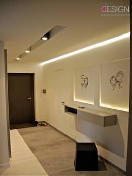 modern Corridor, hallway & stairs by kabeDesign kasia białobłocka