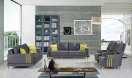 Mobilyaminegolden.com – Hüma Gri Koltuk 3+3+1: modern tarz Oturma Odası