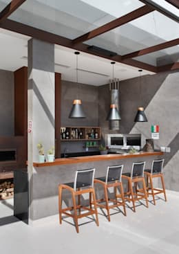 Área Gourmet: Varanda, alpendre e terraço  por ANGELA MEZA ARQUITETURA & INTERIORES