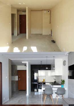 Realizacja projektu mieszkania 35m2-przed i po: styl , w kategorii  zaprojektowany przez Interiori Pracownia Architektury Wnętrz