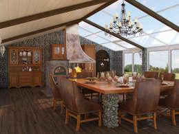 rustic Dining room by Студия дизайна интерьера Маши Марченко