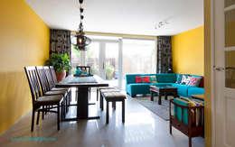 Geel turquoise eetkamer : aziatische Woonkamer door Levenssfeer