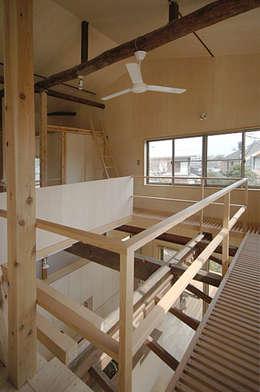 吹き抜けの廻りのキャットウォーク: 大庭建築設計事務所が手掛けた和室です。