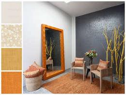 Recibidor con gran espejo de piso: Vestíbulos, pasillos y escaleras de estilo  por MARIANGEL COGHLAN