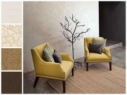 Recibidor con sillones : Estudio de estilo  por MARIANGEL COGHLAN