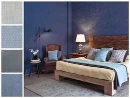 Recámara con paredes azules: Recámaras de estilo rústico por MARIANGEL COGHLAN