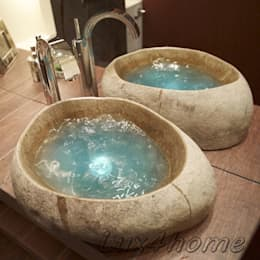 il bagno ancora pi originale con i lavandini in pietra in stile primitivo