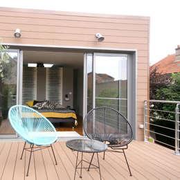 Extension d'une maison à Colombes, 200m² : Terrasse de style  par ATELIER FB