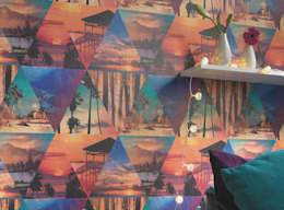 Paredes y pisos de estilo moderno por Tapeten der 70er