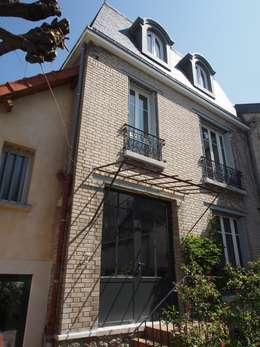 Maison agrandie et rénovée de tous cotés: Maisons de style de style Classique par agence MGA architecte DPLG
