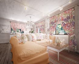 Уютный дом в стиле прованс: Гостиная в . Автор – Дизайн-бюро Анны Шаркуновой 'East-West'