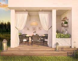 Уютный дом в стиле прованс: Tерраса в . Автор – Дизайн-бюро Анны Шаркуновой 'East-West'