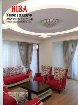 Hiba iç mimari ve dekorasyon – Seyran Timur Bozdoğan: modern tarz Oturma Odası