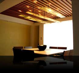 Iluminación: Comedores de estilo moderno por Vidrio artesanal Xa Quixe S de RL Mi Art