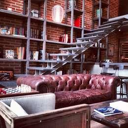 Biblioteca Higueras: Salas de estilo moderno por Quinto Distrito Arquitectura
