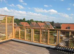 Extension et surélévation d'une maison de ville: Terrasse de style  par F. DEMAGNY ARCHITECTE