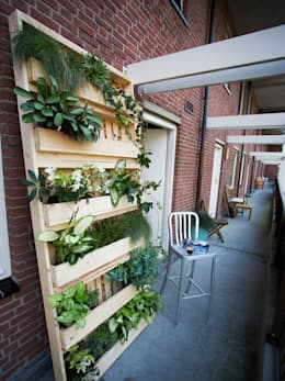pallet tuin Large: Evergreen: industrieel Balkon, veranda & terras door Pop up Pallets