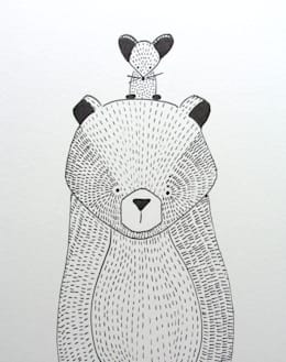 handmade illustratie beer kinderkamervintage: scandinavische Kinderkamer door Kinderkamervintage