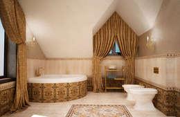 Ванная комната на мансарде: Ванные комнаты в . Автор – Настасья Евглевская