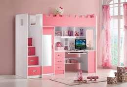 Roze hoogslaper Chica in de meisjes kinderkamer: eclectische Kinderkamer door JeEigenKamer.nl