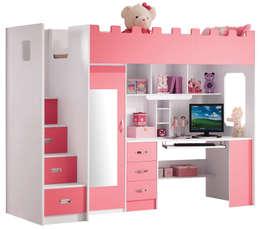 Roze hoogslaper Chica als een echt prinsessenkasteel: eclectische Kinderkamer door JeEigenKamer.nl