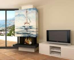 Salas / recibidores de estilo mediterraneo por Murales Divinos