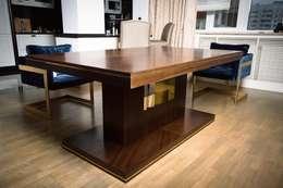 Стол обеденный. Материал: шпон,латунь,массив,мдф.: Столовая комната в . Автор – NICE CATCH
