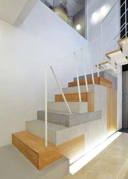 コラージュ階段: 平野智司計画工房が手掛けた廊下 & 玄関です。