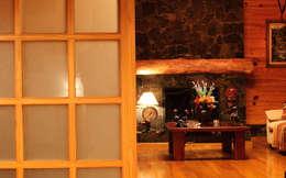 Гостиная в . Автор – Patagonia Log Homes