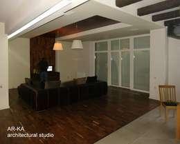 Дом в Малаховке: Гостиная в . Автор – AR-KA architectural studio