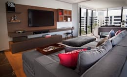 Departamento CL: Salas multimedia de estilo moderno por Concepto Taller de Arquitectura