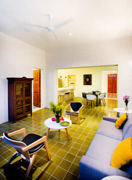 Projekty,  Salon zaprojektowane przez Taller Estilo Arquitectura