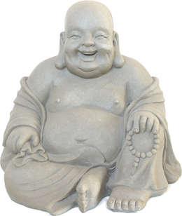 Dikbuik Boeddha : aziatische Tuin door Inspiring Minds