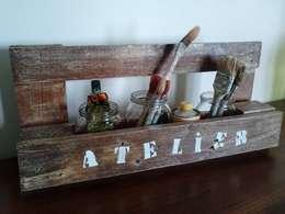 Etagère bois de palette spéciale atelier: Garage / Hangar de style de style Industriel par jamak.deco.recup