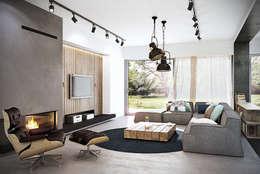 Mokronos k. Wrocławia, dom-163m2: styl , w kategorii Salon zaprojektowany przez razoo-architekci