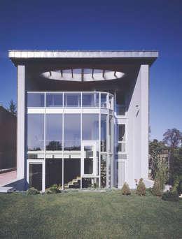 elewacja ogrodowa: styl nowoczesne, w kategorii Domy zaprojektowany przez Atelier Loegler Architekci