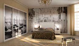Dormitorio infantil con armario de puertas correderas en color haya y personalizado textil.: Dormitorios de estilo moderno de AstiDkora