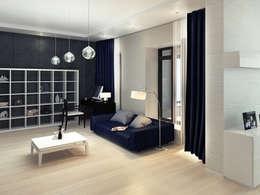 Дизайн гостиной загородного дома в стиле минимализм: Гостиная в . Автор – Space - студия дизайна интерьера премиум класса
