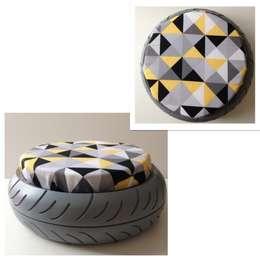 Pouf géo-triangle jaune: Maison de style  par Le Designer du Recyclage