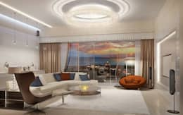 Двухуровневая квартира в Севастополе: Гостиная в . Автор – Дизайн - студия Пейковых