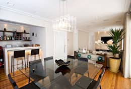 Sala de Jantar integrada ao Bar : Salas de jantar modernas por Cavalcante Ferraz Arquitetura / Design