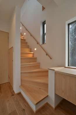 modern Corridor, hallway & stairs by 若山建築設計事務所