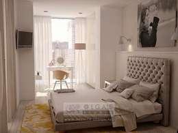 В интерьере спальни пространство присоединенной лоджии задействовано под мини-гардеробную со светлым шкафом и туалетным столиком: Спальни в . Автор – Olga's Studio