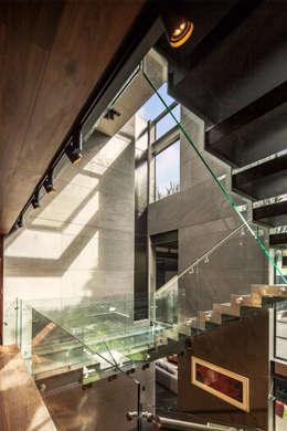 Casa Basaltica: Pasillos y recibidores de estilo  por grupoarquitectura