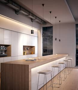 Solid Pendants in Nero Marquina marble: modern Kitchen by Terence Woodgate
