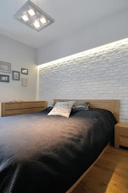 Beton udomowiony – czyli nowoczesne mieszkanie w Krakowie.: styl , w kategorii Sypialnia zaprojektowany przez ARTEMA  PRACOWANIA ARCHITEKTURY  WNĘTRZ