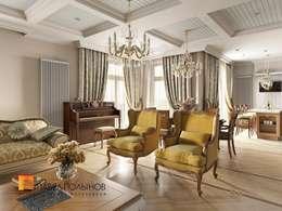 Классический стиль в интерьере квартиры в ЖК «Duderhof Club», 193 кв.м.: Гостиная в . Автор – Студия Павла Полынова