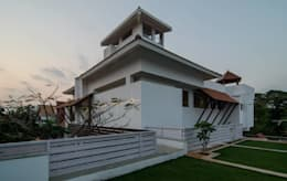 Mrs.&Mr. REKHA THANGAPPAN RESIDENCE AT JUHU BEACH, KAANATHUR, EAST COAST ROAD, CHENNAI: modern Houses by Muraliarchitects