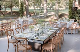 Mesa Banquetera: Jardín de estilo  por Elemento Tres