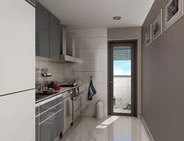 Renders interiores: Cocinas de estilo moderno por Entretrazos